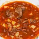 Суп из утиного филе с фасолью и бататом