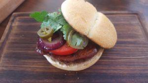 Гамбургер с минтаем и базиликом