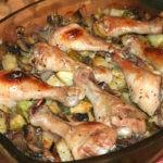 Куриные голени запечённые с грибами и овощами