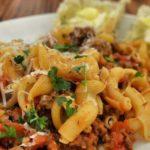 Макароны по-флотски с куриным фаршем и любимыми грибами в мультиварке, рецепт с фото