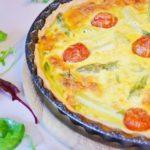Пирог со спаржей, помидорами черри и козьим сыром, рецепт с фото