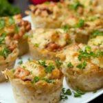 Картофельные корзиночки с шампиньонами и сыром, рецепт с фото