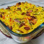 Омлет с тыквой, сладким перцем и колбасками в духовке, рецепт с фото и видео