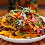 Салат с шампиньонами, кабачками и баклажанами, рецепт с фото