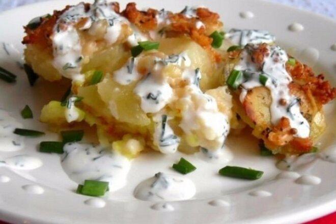Картофельный эскалоп с чесночной заправкой, рецепт с фото пошагово